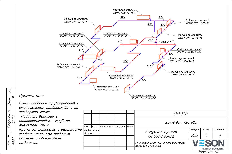 Как рисуется схема по отоплению